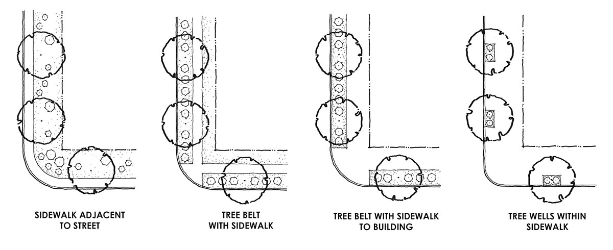 The regulations provide options for streetscape landscaping, with an emphasis on street trees.