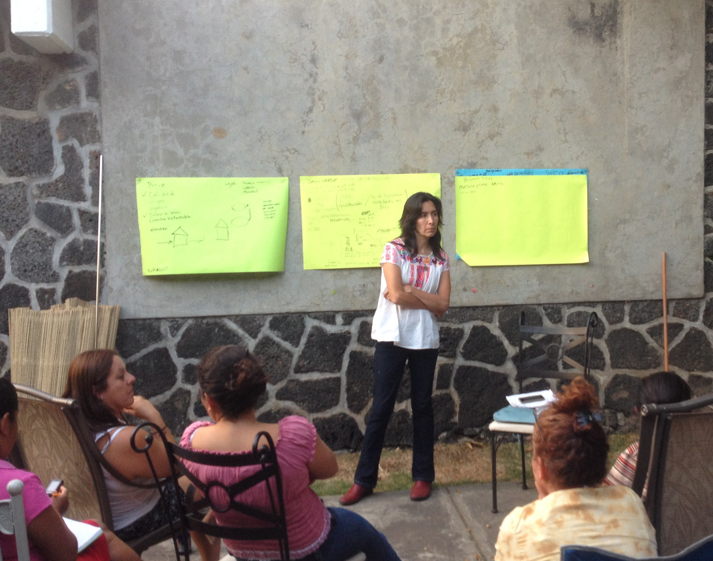 Cecilia discussing Fair Trade pricing with her educators as Capomo (Maya Nut) grows in popularity.
