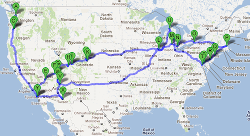 Because We Wanted To Road Trip Map
