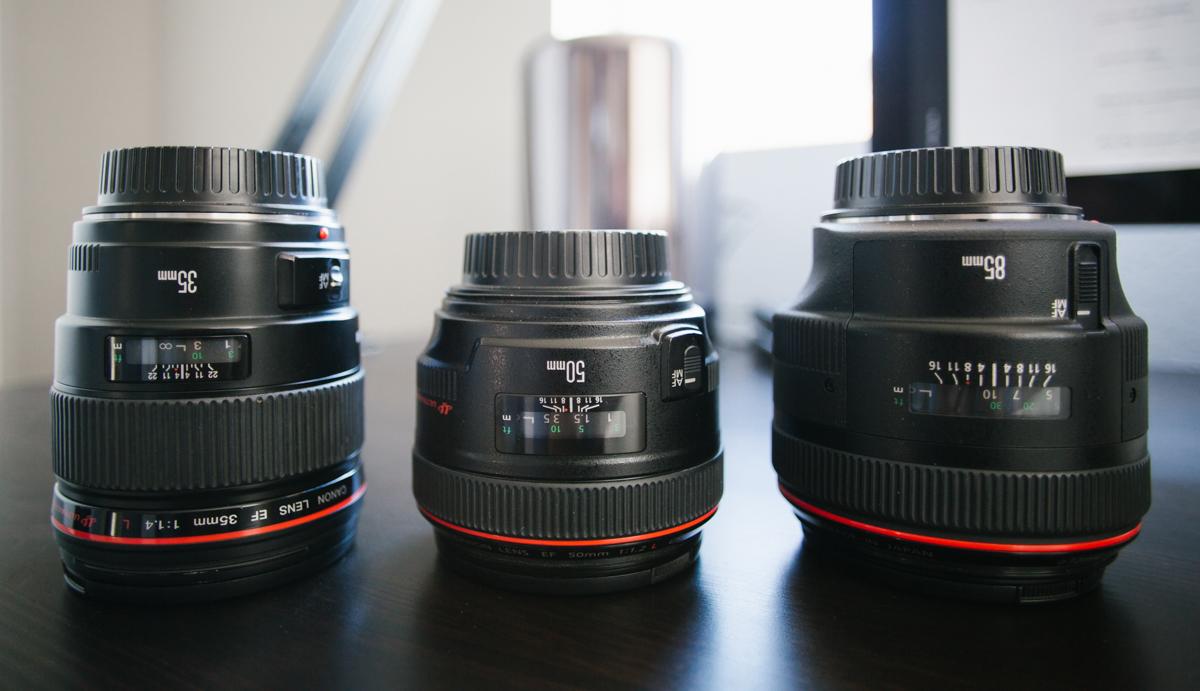 My 35mm, 50mm, and 85mm. Shot on a 20mm at f2.8 to show the distortion + bokeh effect .