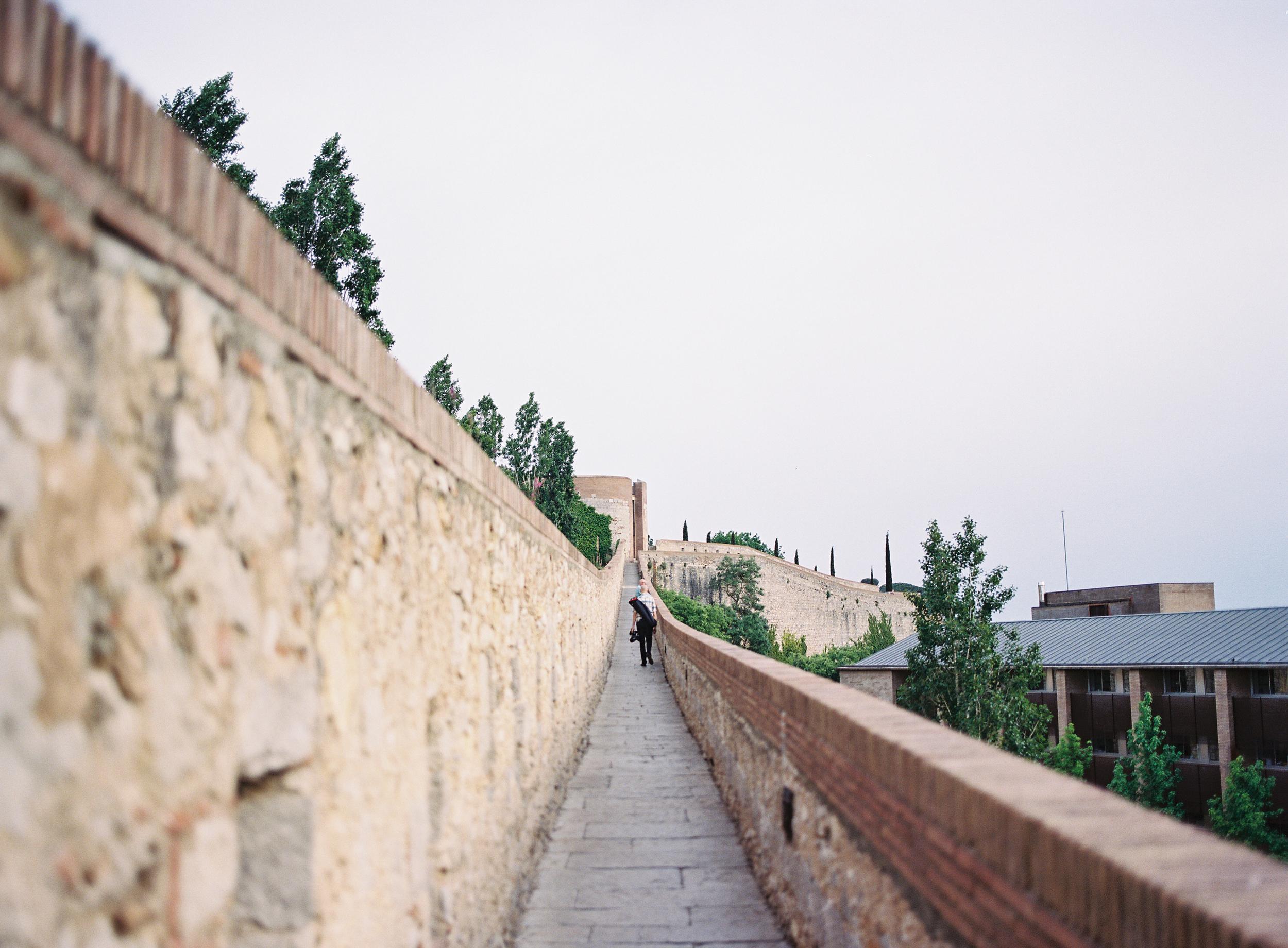 Filming from the city walls in Girona, Spain (Photo by  Jen Wojcik )