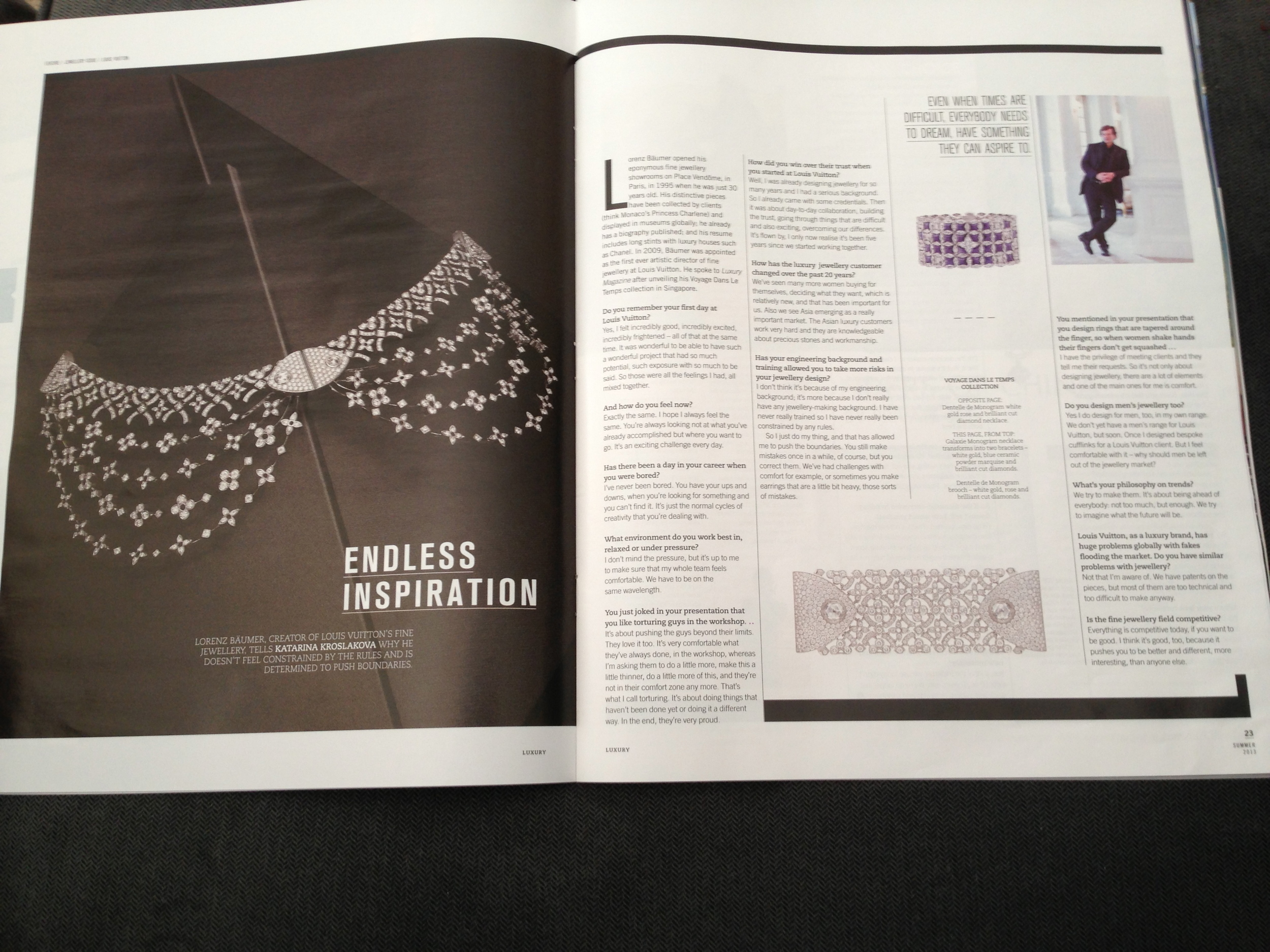 Garth Knight collector & collaborator, Lorenz Baumer, Head of Fine Jewels for LouisVuitton, as featured in the AFR Luxury magazine, 15.11.13