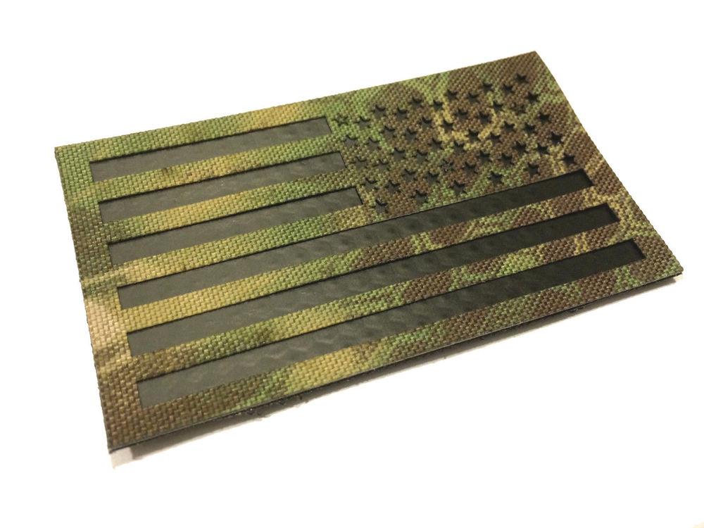 Reversed Infrared reflective Multicam Arid IR US Flag Hook//loop Patch 3.5x2