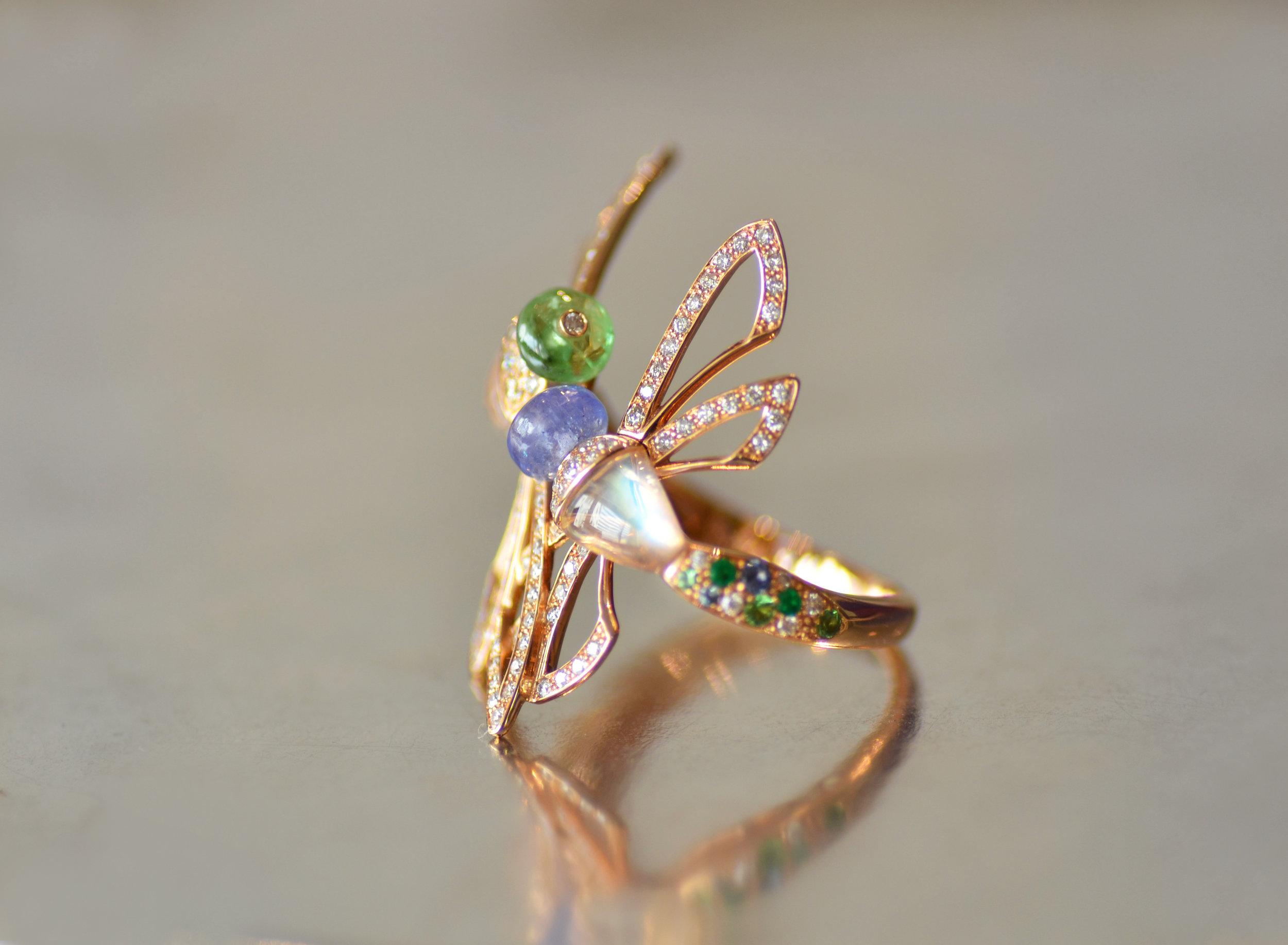 Rubicon Jewelry Bangkok Thailand Dragonfly ring tanzanite tsavorite rainbow moonstonde diamond