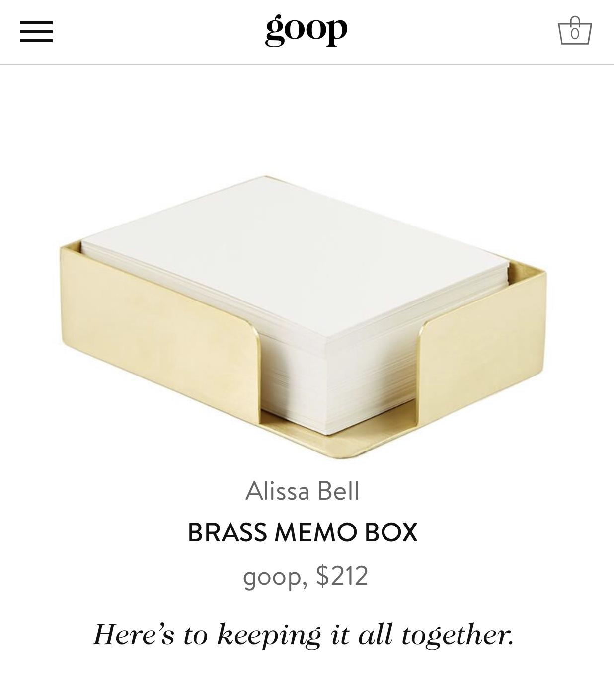 Alissa Bell Brass Memo Box Goop