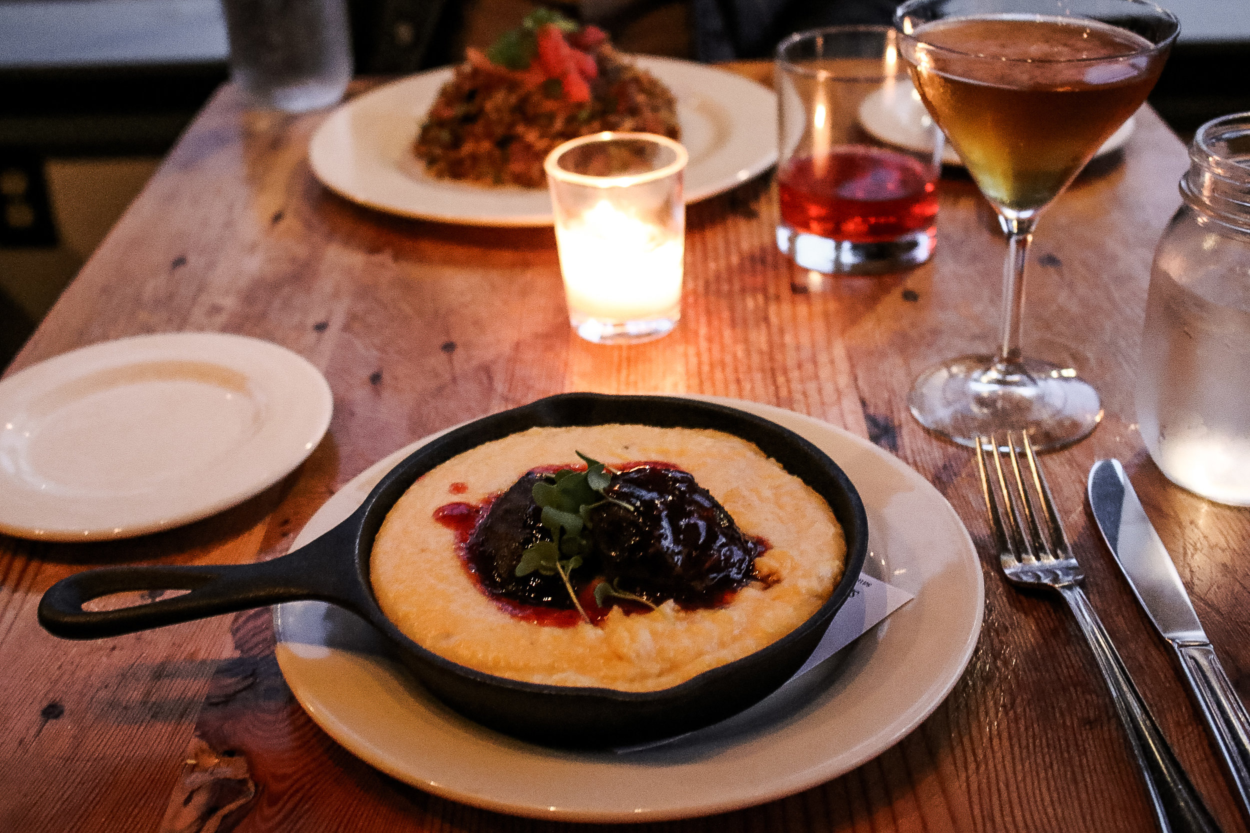 Cheesy Grits with Smoked Pork Cheeks at Acadia