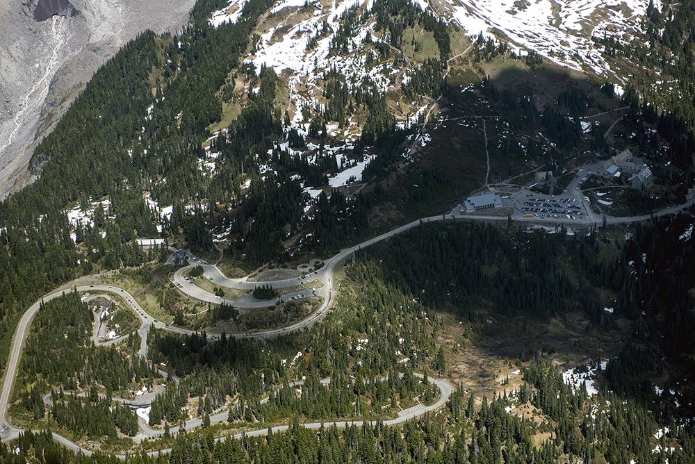 Paradise visitors center below Mount Rainier