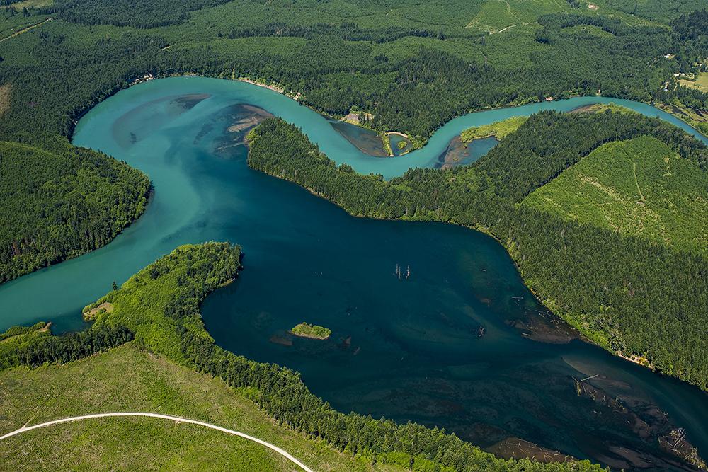 Confluence of the Cispus River, bottom right, and the Cowlitz River near Glenoma, Wash.