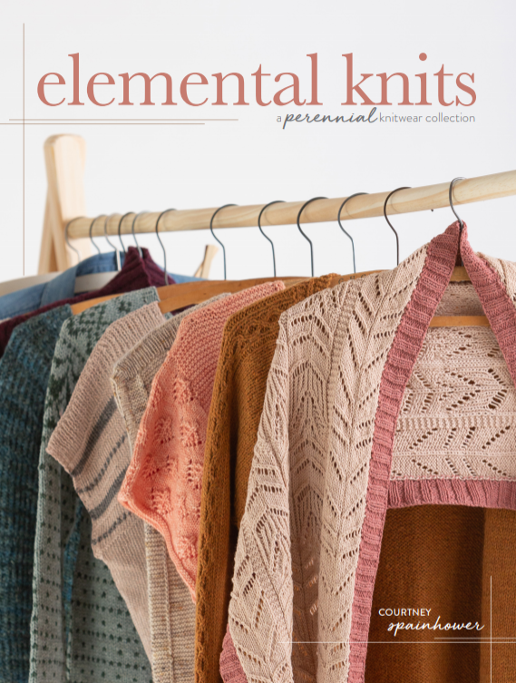 elemental knits - Elemental Knits: A Perennial Knitwear Collection by Courtney SpainhowerElemental Knits is for women who aspire to be ever stylish, more comfortable, and less wasteful. With knitwear designer Courtney Spainhower, you'll craft an appearance that truly reflects your spirit with a collection of 20 knitting patterns designed to enhance your wardrobe year-round.Knit with intention, selecting patterns and fibers for their wearablity, versatility, and how they enhance your existing wardrobe.20 patterns explore a range of knitting techniques with features suited to each season--texture and cables for autumn, allover patterning for winter, garter and lace for spring, and colorful accents for summer.Revel in gorgeous details that take these garments and accessories from functional to essential in a way that will have you wearing them year after year.Enrich your hand-knit wardrobe with intentional projects that will act as wardrobe staples for years to come with Elemental Knits.AVAILABLE FOR PRE-ORDER NOW!