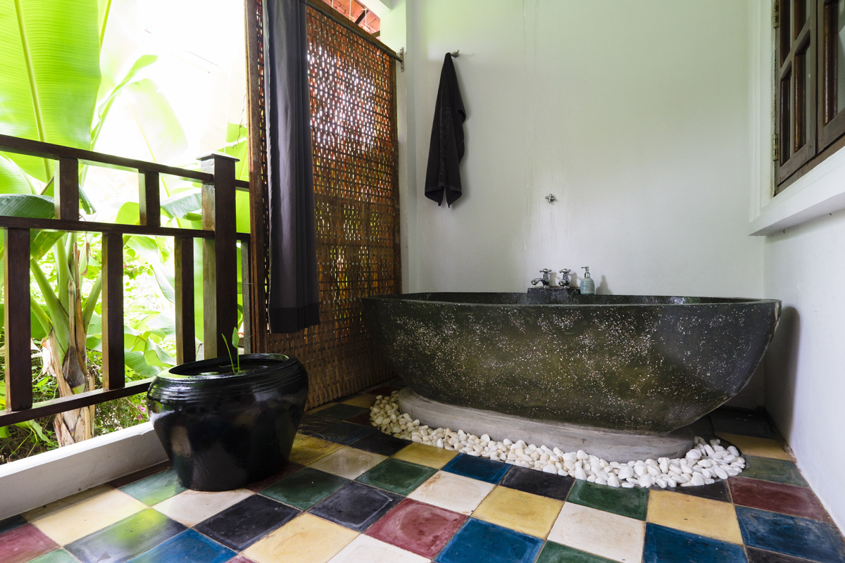 Loved the outdoor shower and bath, Rambutan Resort Siem Reap, Cambodia.