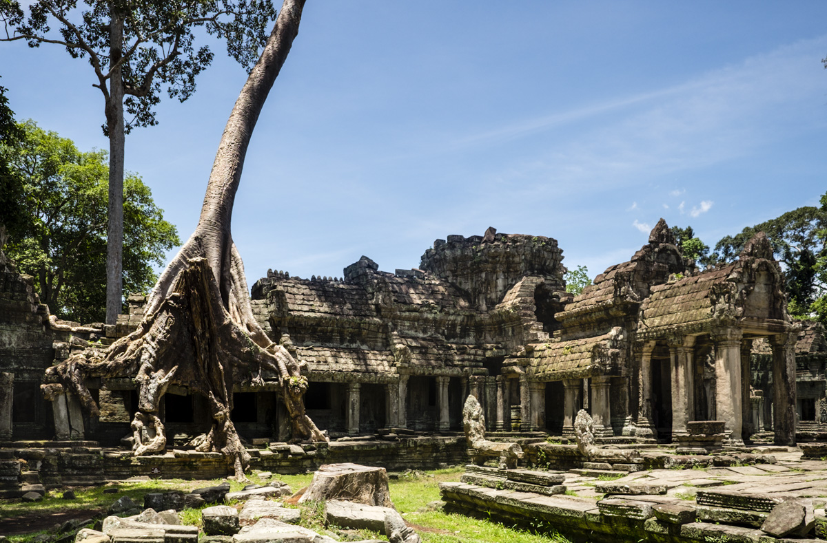 Preah Khan, architecturally dramatic with its colonnades and front portico. Angkor Cambodia.