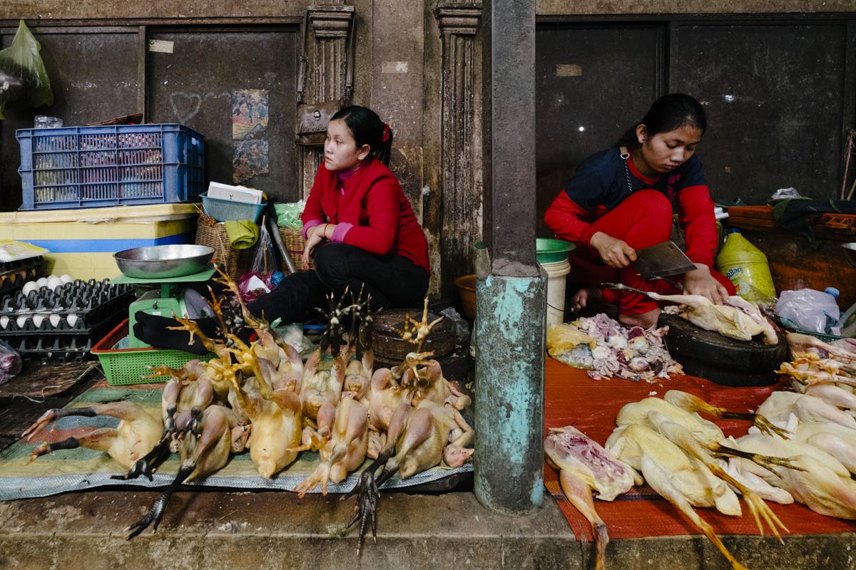 Poultry shop Siem Reap, Cambodia.