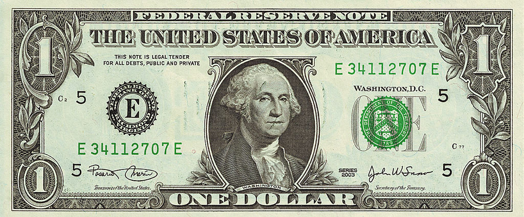 "A so-called ""Dollar Bill"" or ""Note"" as it is formally known.  Credit:  Wikimedia Commons"