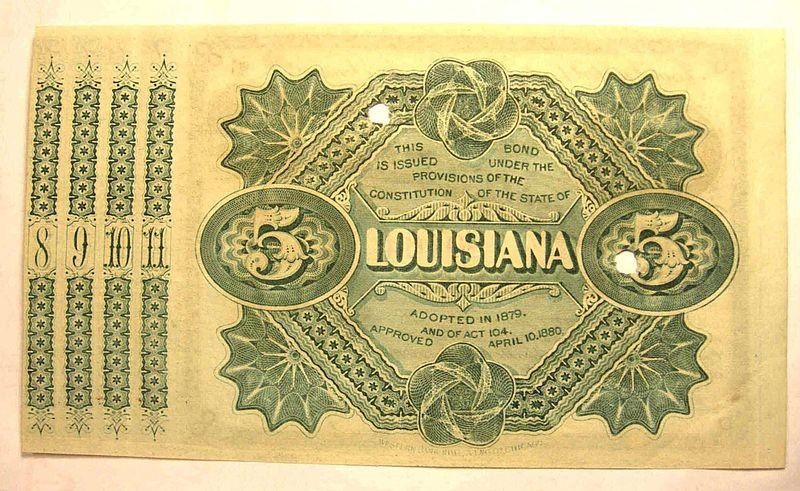 Louisiana Baby Bonds, circa 1880. Source:  Wikimedia Commons