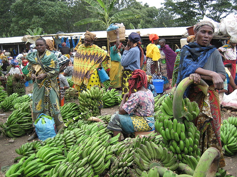 A market in Tengeru, Tanzania.  Source:  Wikimedia commons