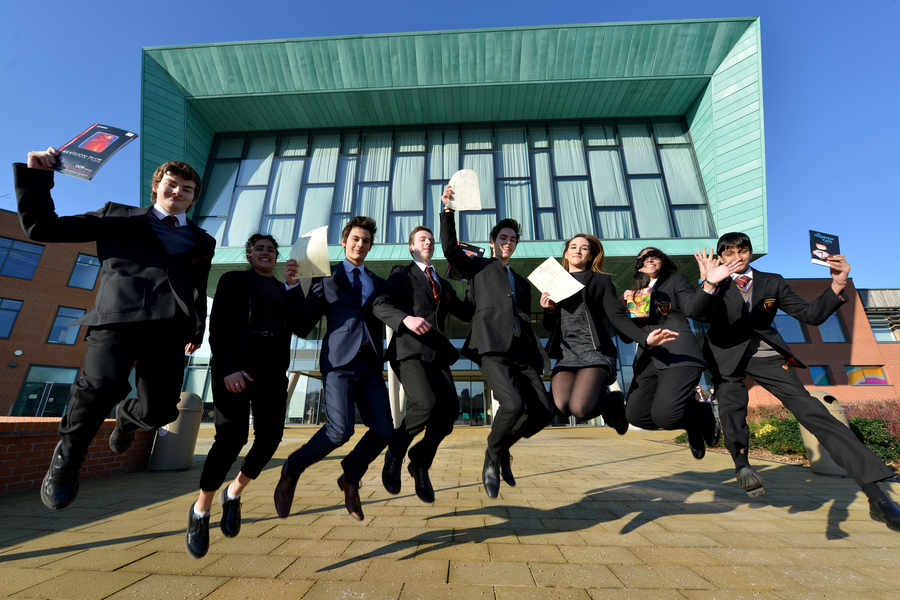 Highfields students celebrate top GCSE grades.  Photograph courtesy of Express & Star