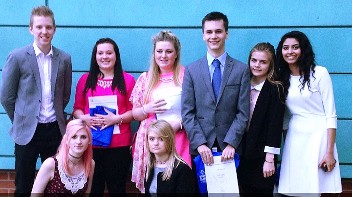 Chloe & Deenah (2nd right/far right) at their DofE Silver Award presentation back in 2015