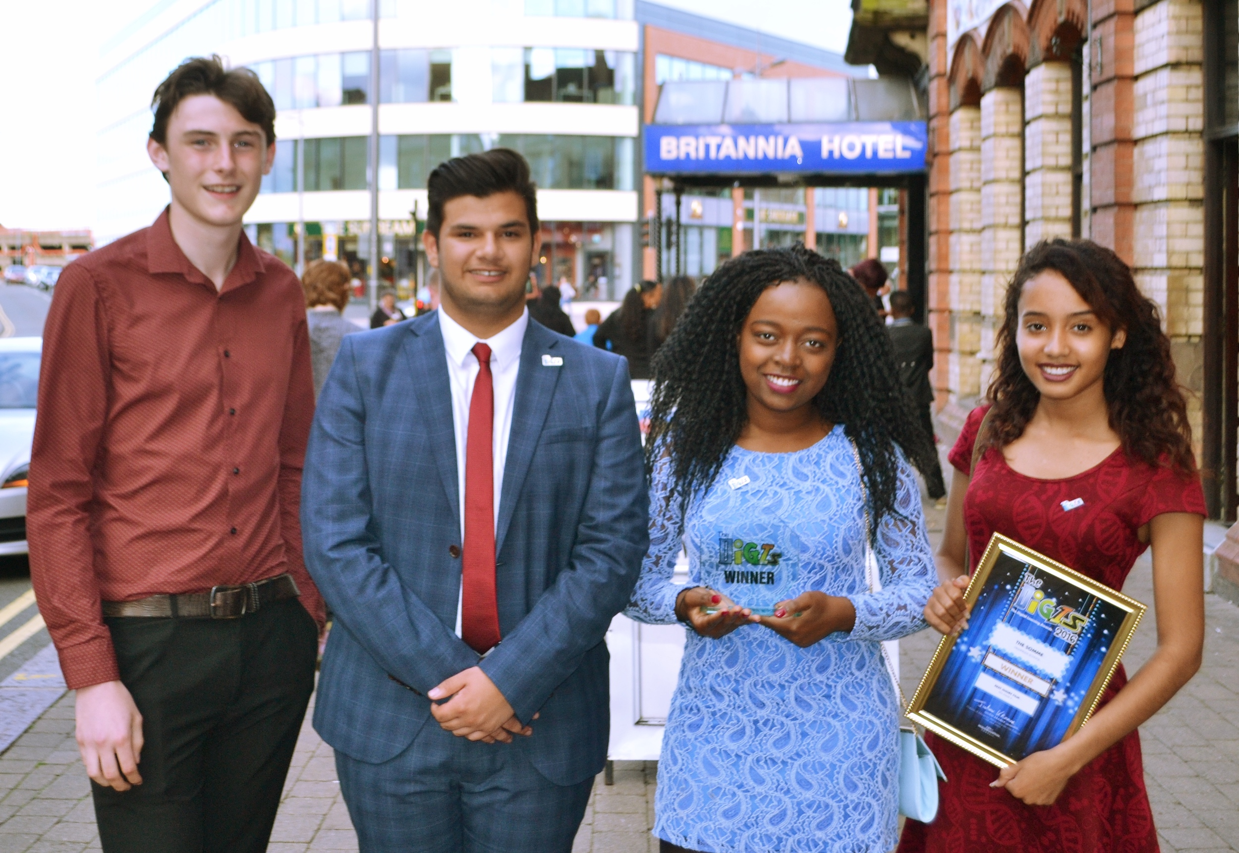 Feargus Flanagan, Jacob Kholi, Rachel Chaza and Giaa Lawrence celebrate their DIGI Award