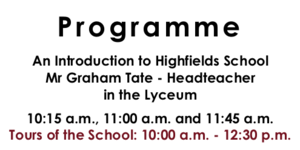 Open Morning Programme