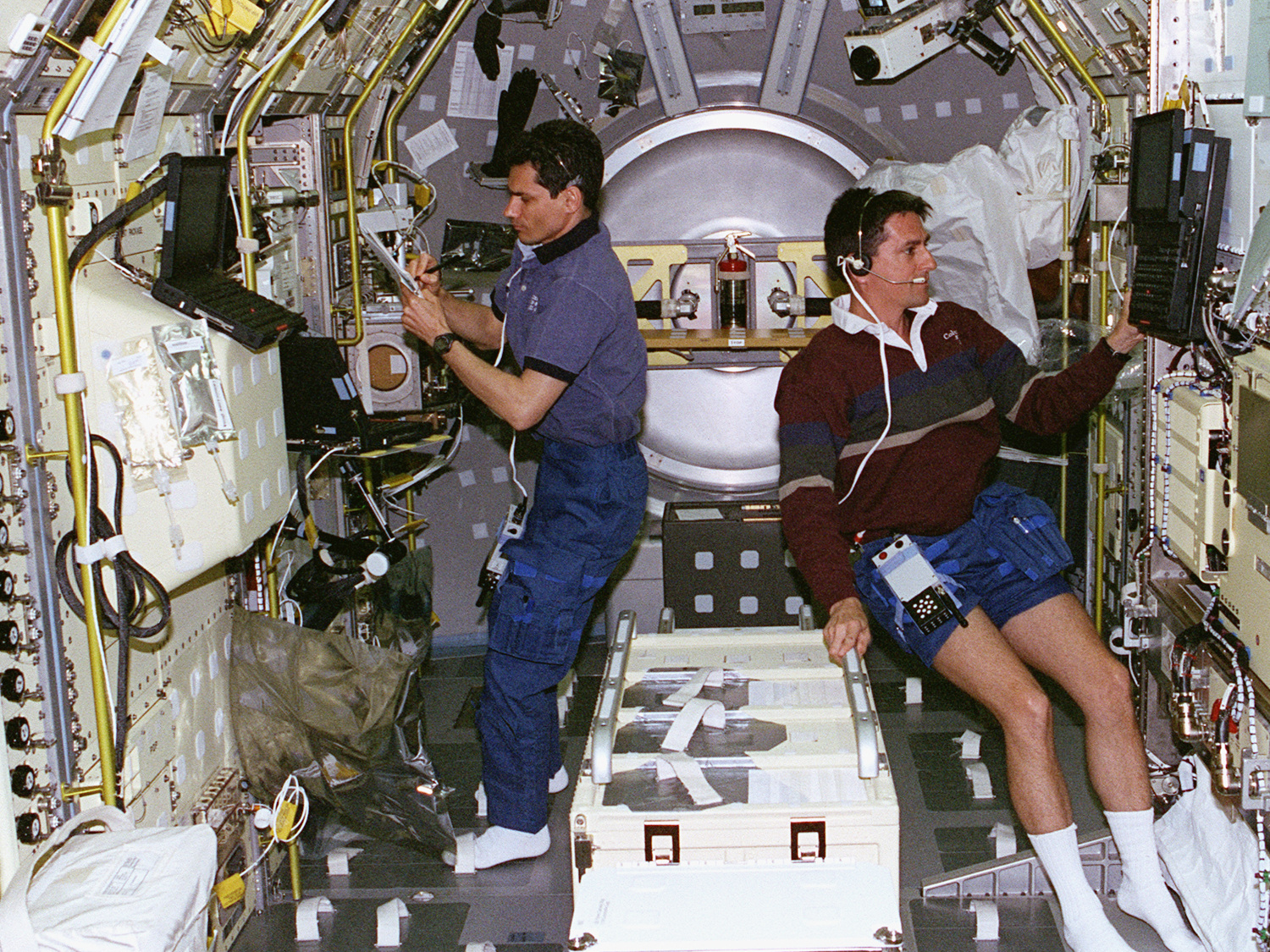 Working with Greg Linteris in the Spacelab module.