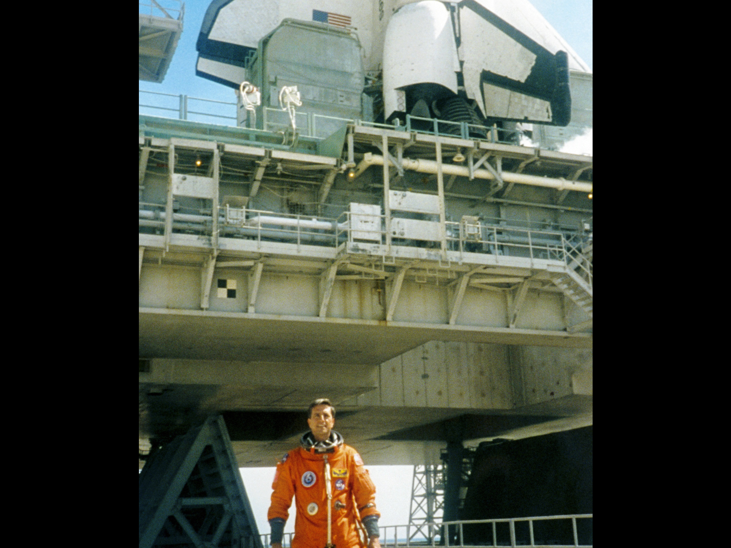Standing at the base of Columbia on launch morning July 1, 1997 (photo Don Thomas)