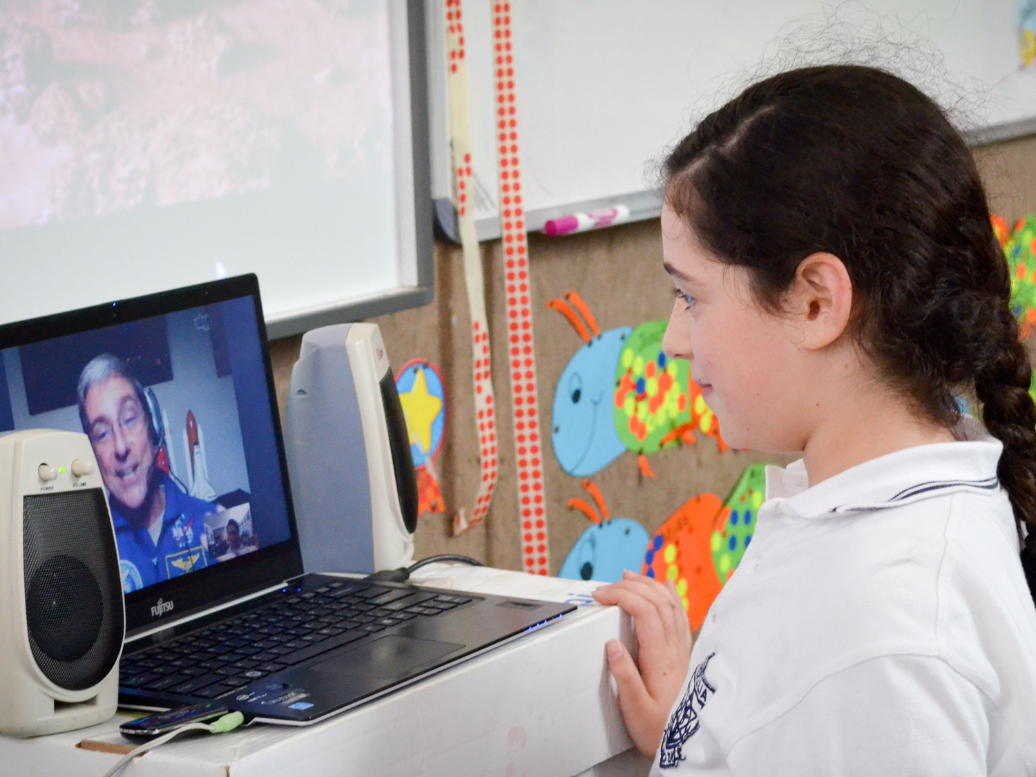 Students can ask Don their individual questions about space (photo Steve Sherman/Living Maths)