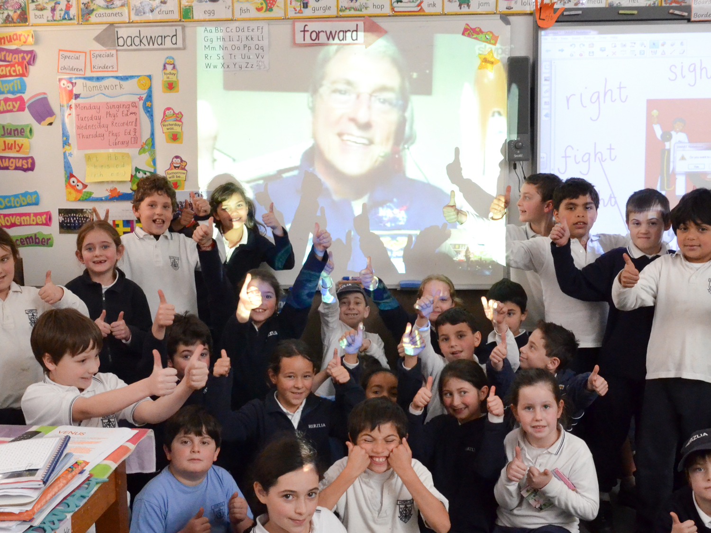 Group photo during virtual classroom visit (photo Steve Sherman/Living Maths)