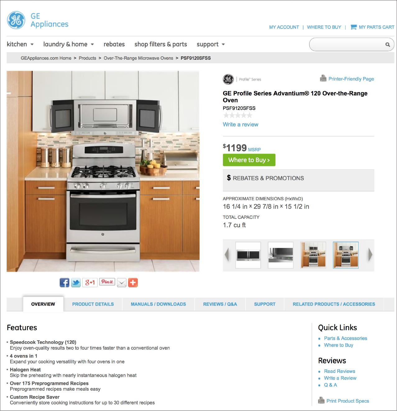 Live pages on GEAppliances.com