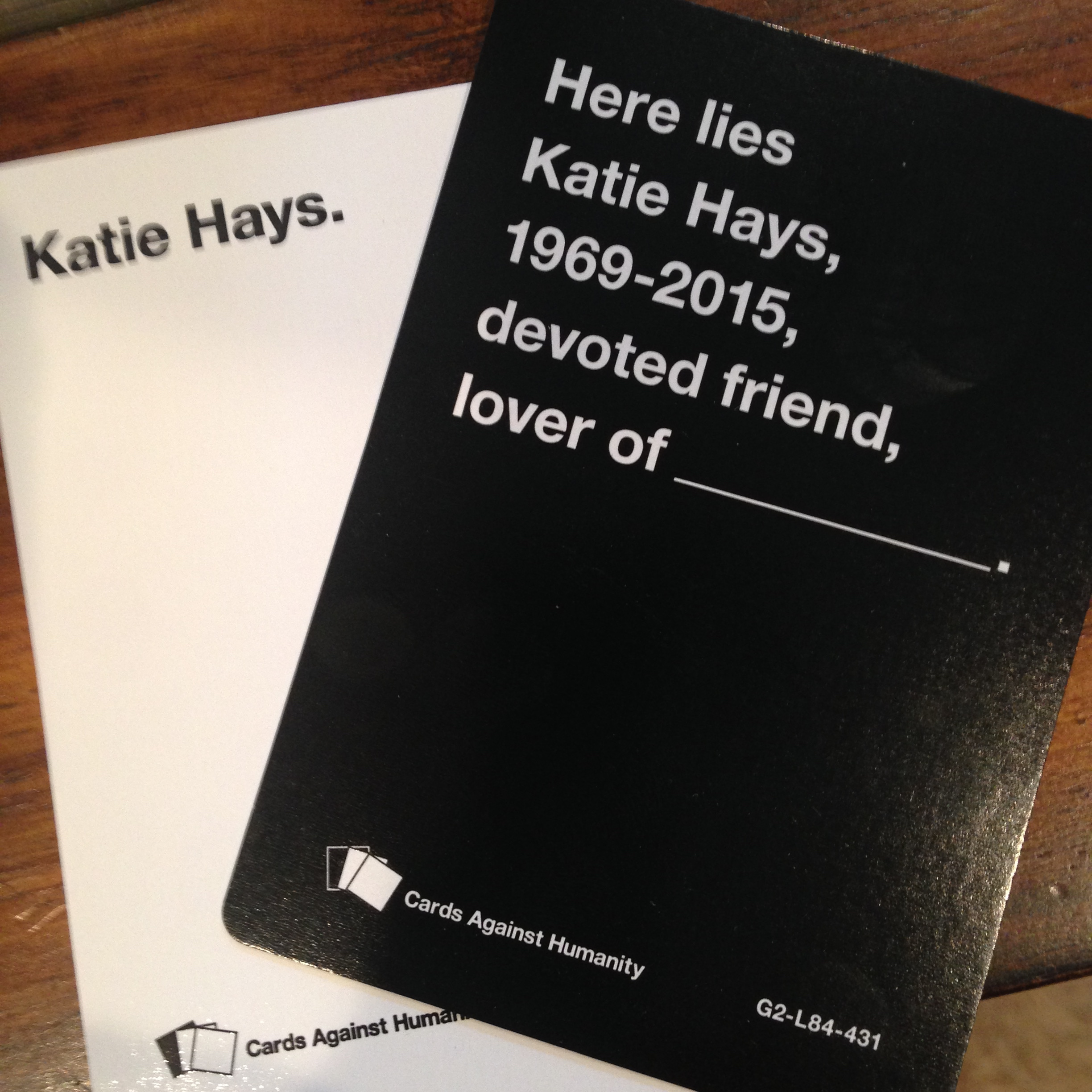 The pastor's very own personalized Cards Against Humanity.
