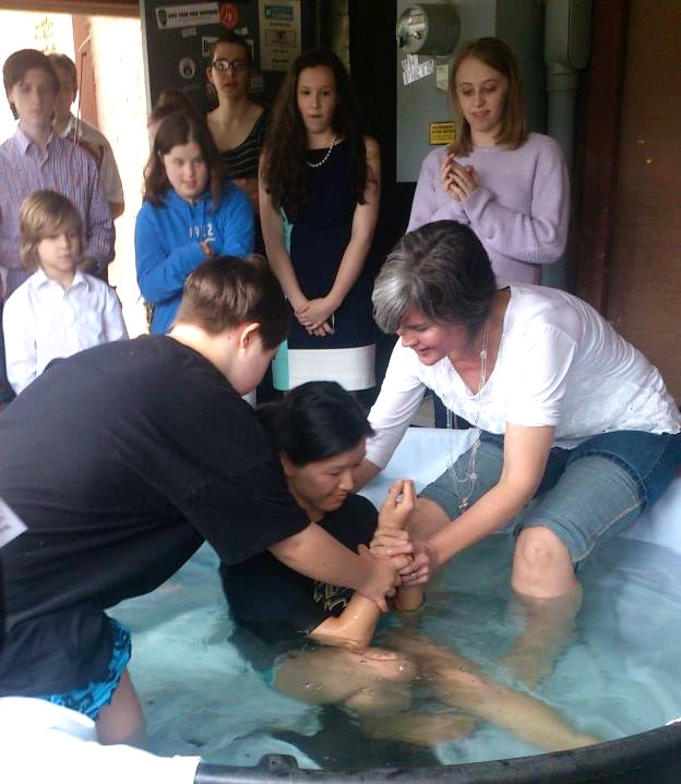 Song's baptism, by Vera and Katie, Easter 2015.