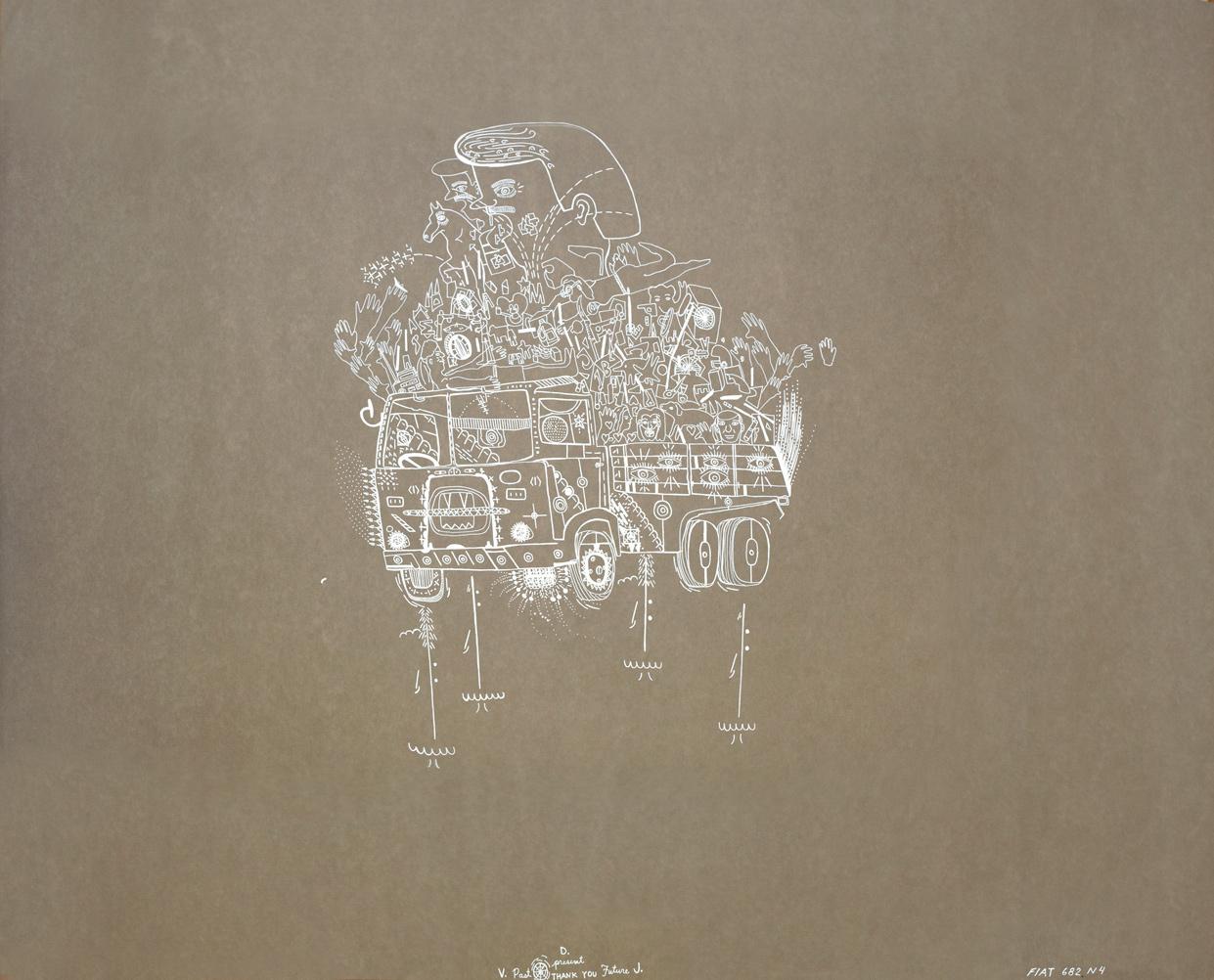 "Veronica de Jesus  FIAT , 2013 White pen on paper 33"" x 41"" Retail Value: $3,000 Opening Bid: $1,500"
