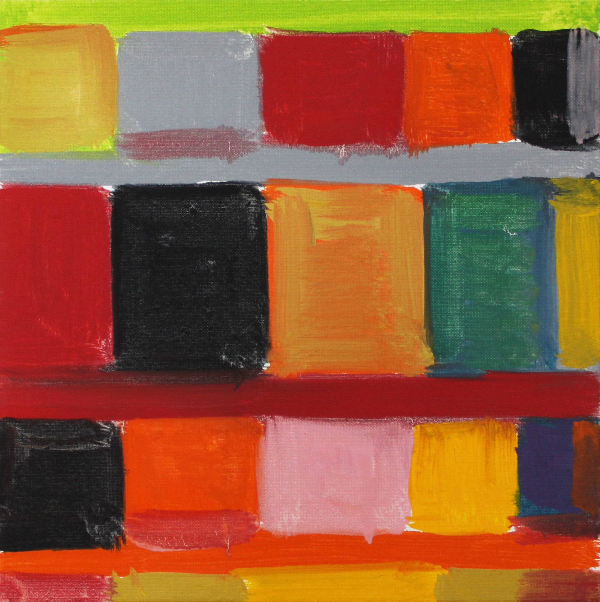 """Stanley Whitney  Untitled , 2011 Oil on linen 12"""" x 12"""" Retail Value: $6,100 Opening Bid: $3,000"""