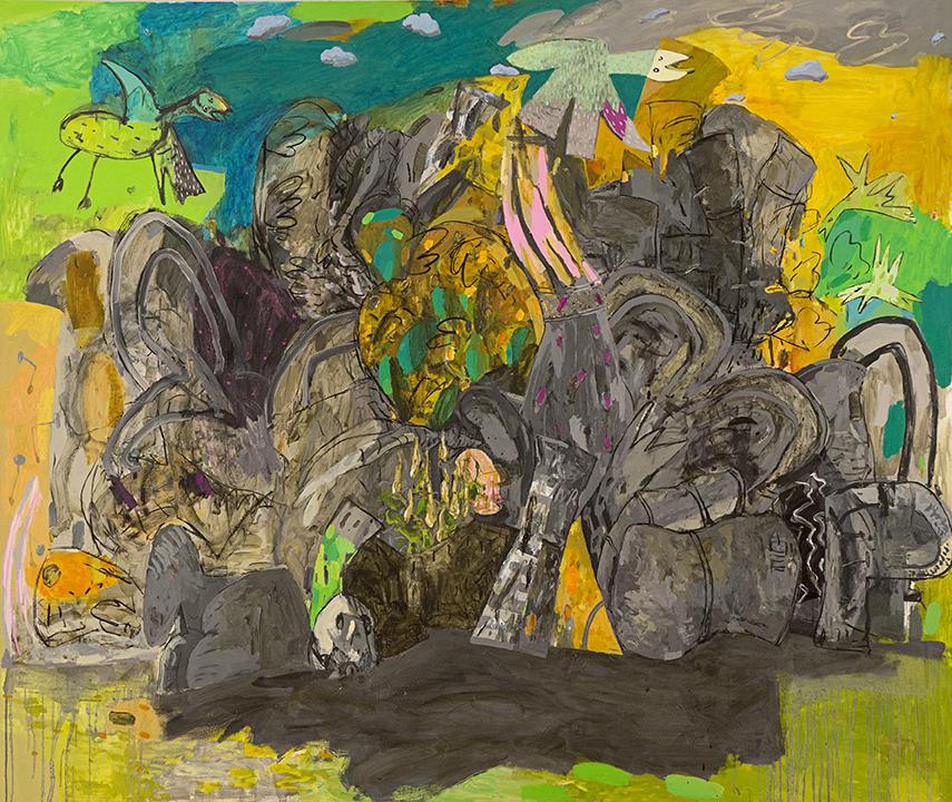 """Vienen los pajaros, 2013 Oil on canvas, 72"""" x 84"""""""