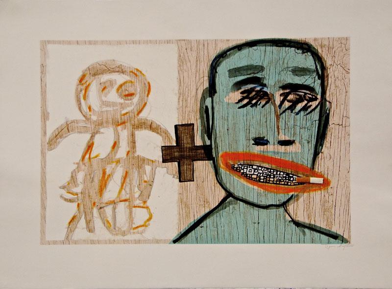 "Untitled, 2012 Swiss monoprint, 22"" 30"""