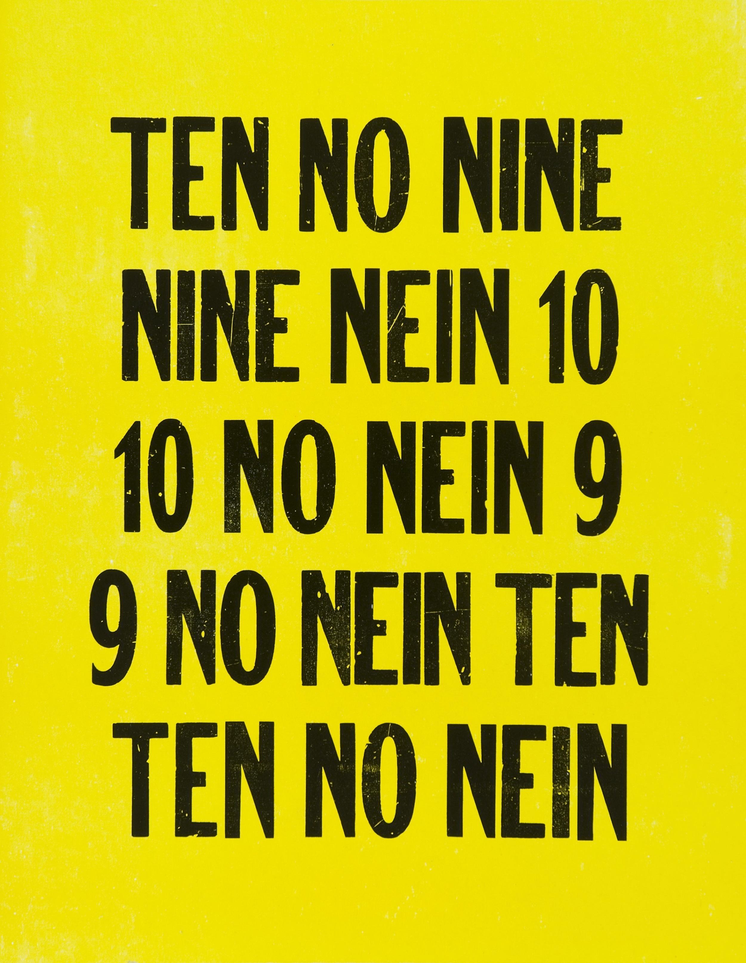 "Kay Rosen  9/10 , 1993/2004 Letterpress print; ed. 85/150 16.25"" x 12.75"" Retail Value: $800 Opening Bid: $400"