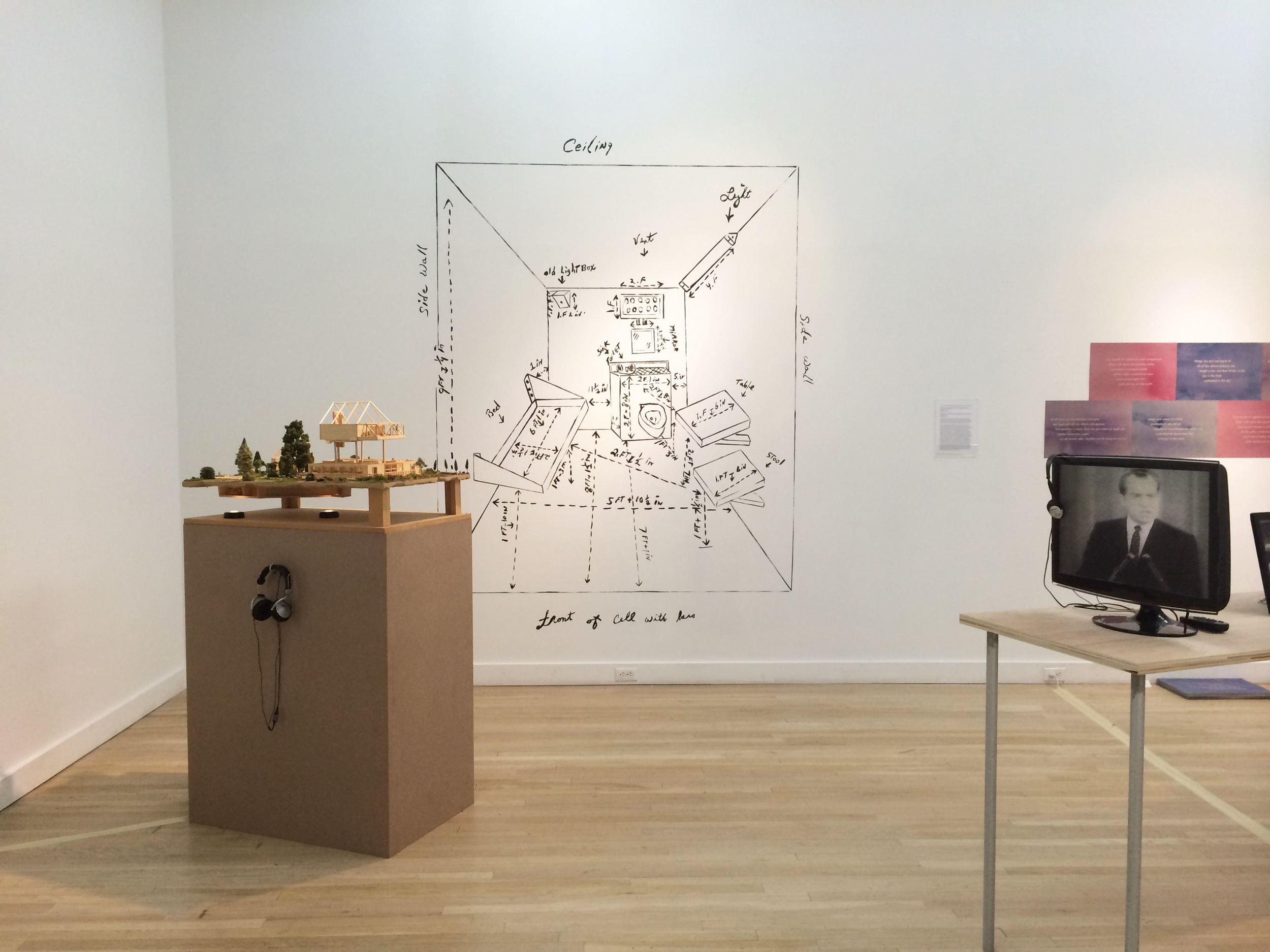 """The House that Herman Built (Herman's House)   2003 – Present Wall drawing, architectural model, framed letter, audio Variable dimensions; audio: 17'45"""" Recording by Angad Bhalla"""