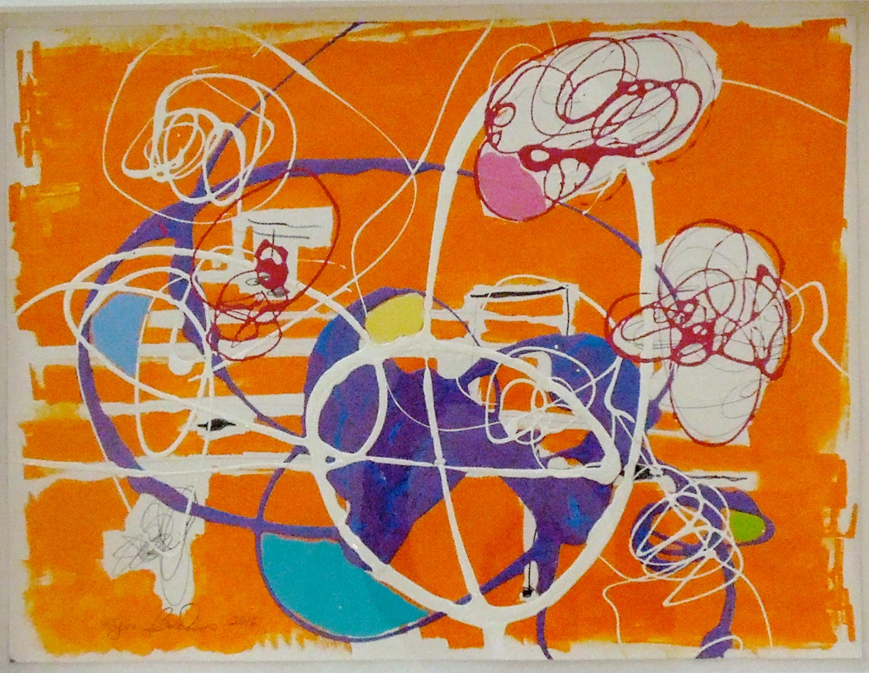 """Serena Bocchino   In the Key of Orange,  2014   Enamel, paint and graphite on panel  17.5"""" x 24"""" image 29"""" x 34.5"""" framed  Retail Value: $1,800   Opening Bid: $600"""