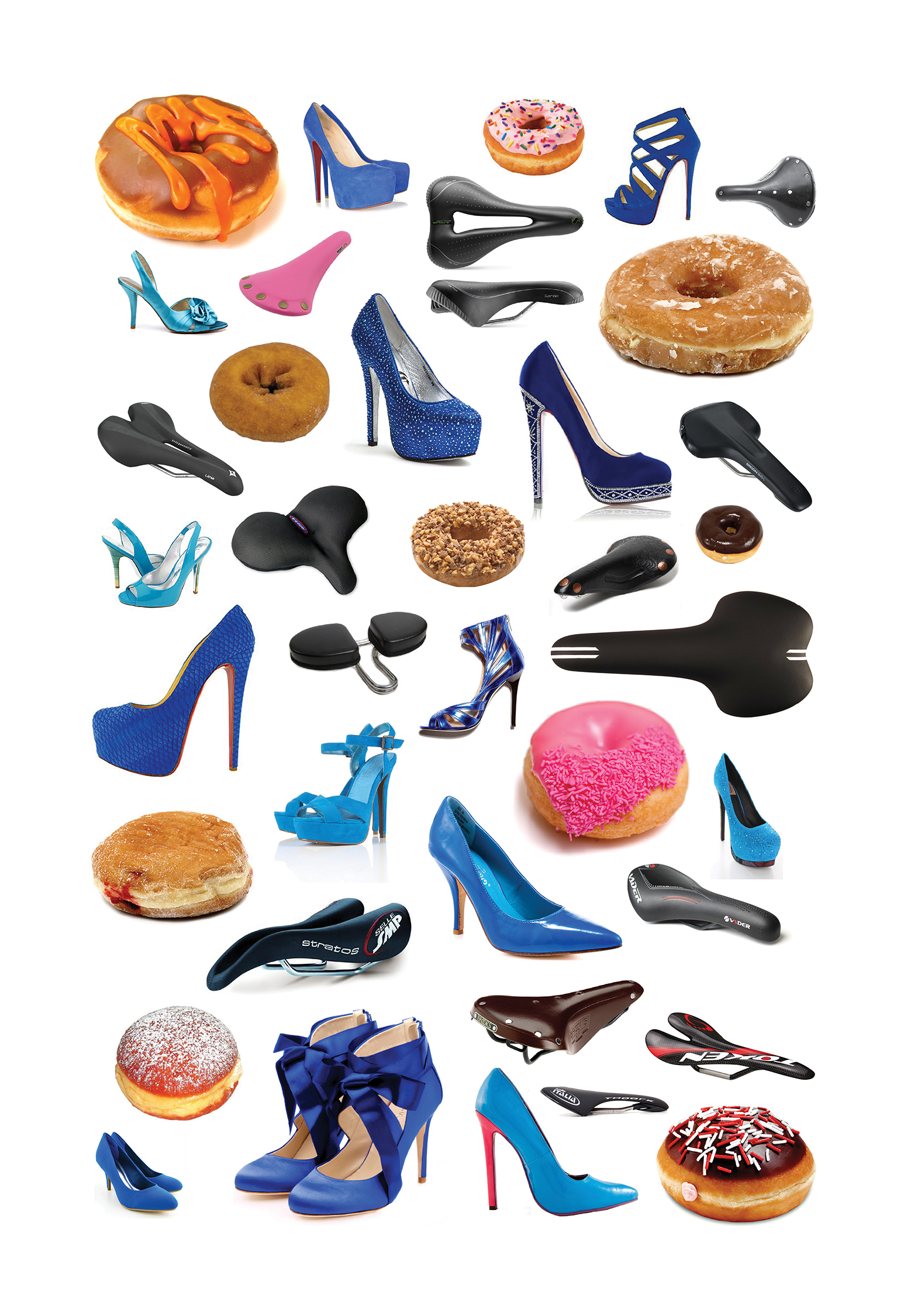 """Jeff Gibson   Set of two untitled prints (Donuts, heels, seats) , 2014   Archival inkjet print Ed. 1 of 3   Courtesy of the artist   39"""" x 27"""" each   Retail Value: $3,000   Opening Bid: $2,000"""