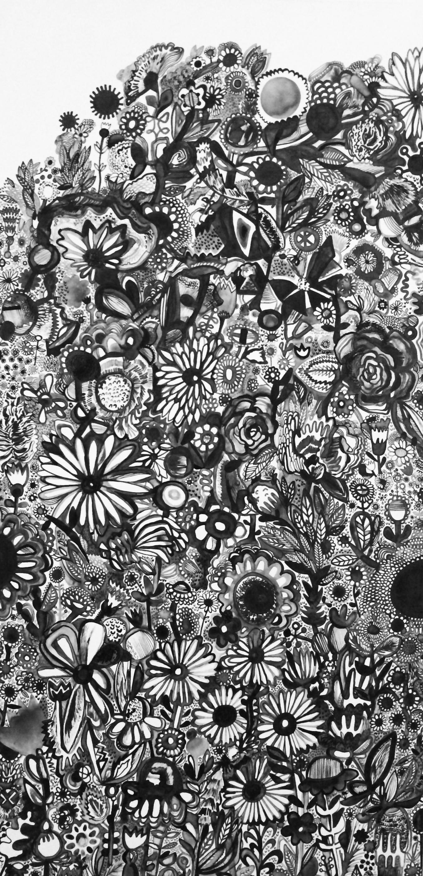 "Rebeca Raney   Flower Power,  2014   Ink on panel   36"" x 18""   Retail Value: $1,000   Opening Bid: $350"
