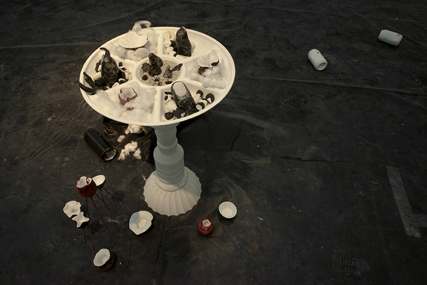 Orificial Cup Platter with Black Thumbs, 2014