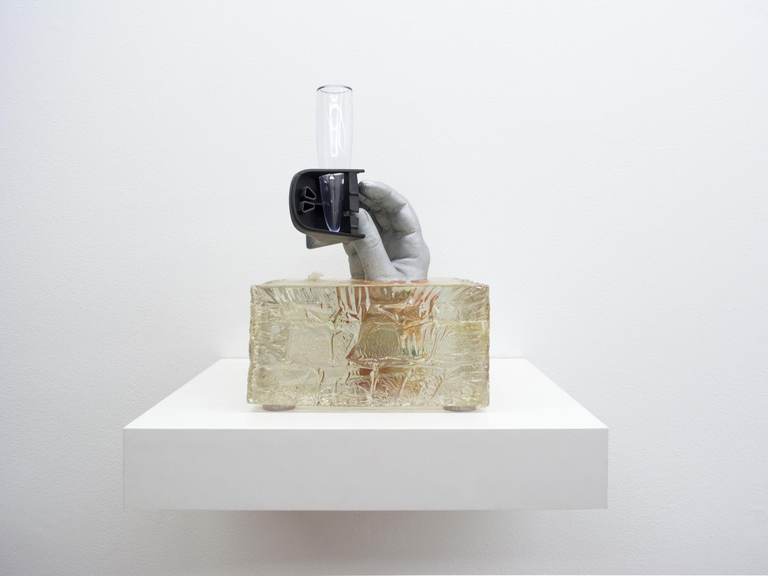 "Mia Goyette   Auf Wiedersehen, Blumenvasen  (1938-2011), 2013  Polyester resin, cast plaster, dashboard-mounting VW Beetle bud vase, silk flowers, chrome paint,8.25"" x 8.25"" x 11"""