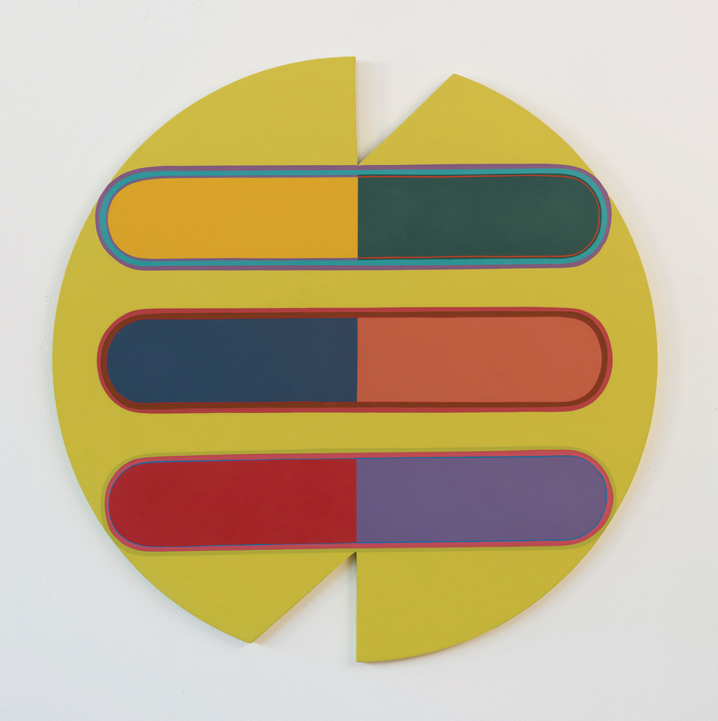 """Figure 2. Marilyn Lerner,  What Goes Around Comes Around , 2015-206. Oil on wood.36"""" diameter circle."""