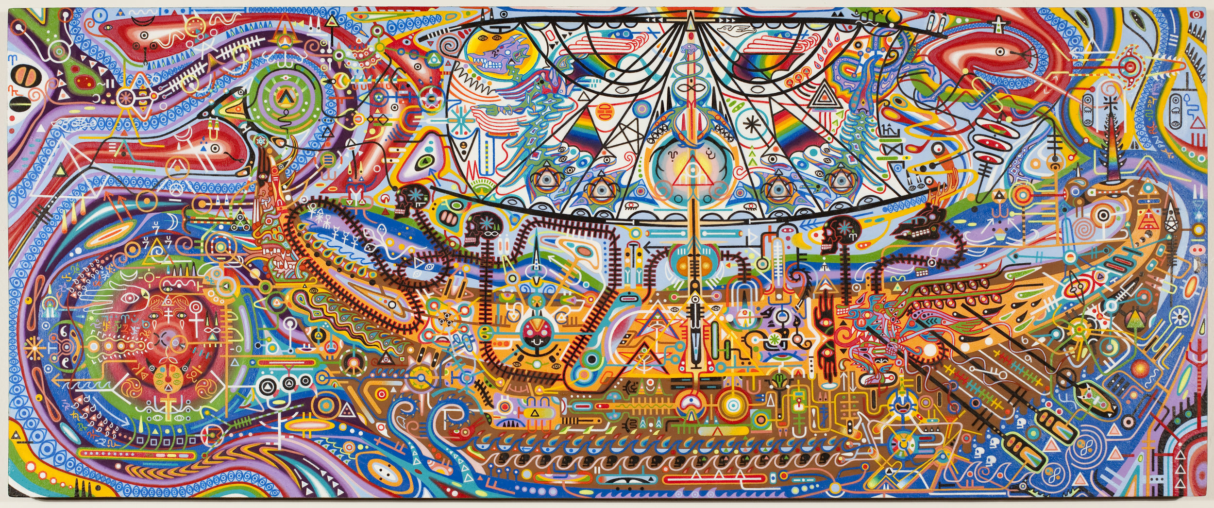 """Shawn Thornton,  Witch Doctor At The Eye of The Solar Epoch , 2008-2010, 12"""" x 29"""", Oil on panel."""