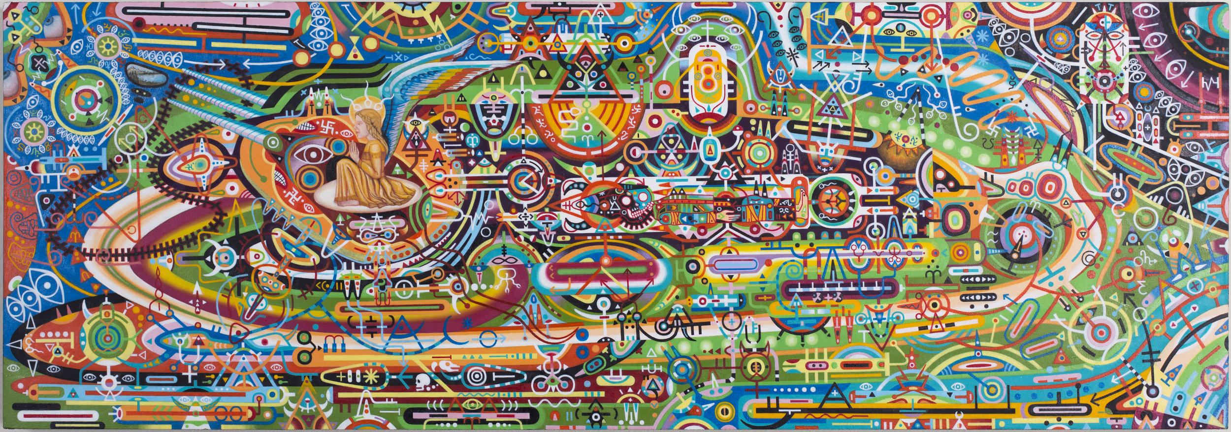 """Shawn Thornton,  Brahmastra For a New Age (UFO/Time Machine) , 2010-2013, 9"""" x 27"""", Oil on panel."""