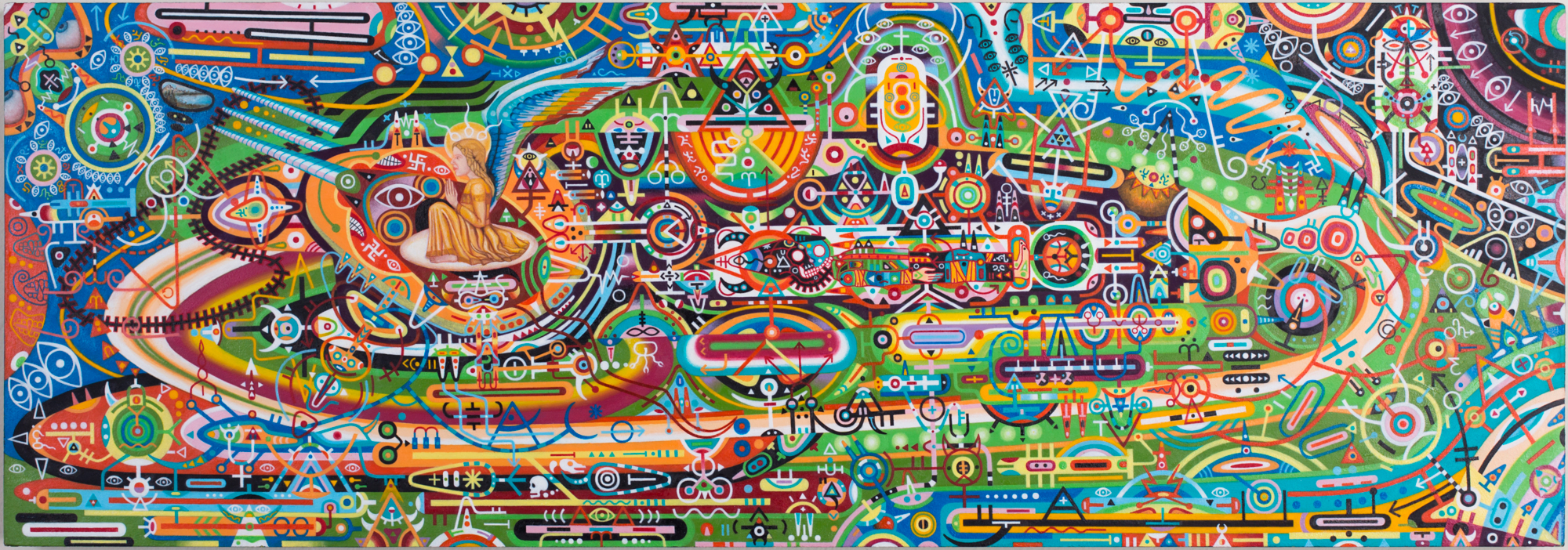 """Brahmastra For a New Age (UFO/Time Machine), 2010-2013. 9"""" x 27"""". Oil on panel. Photo by Ryan Collerd."""