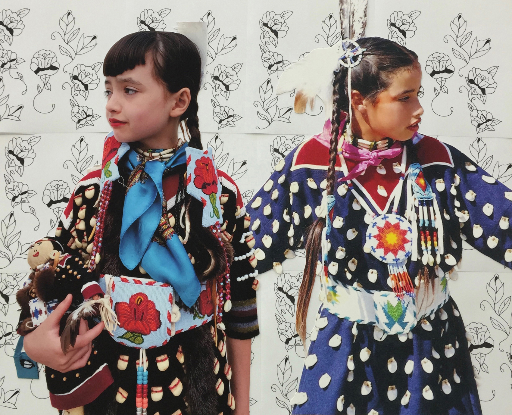 Wendy Red Star,  Crow Roses , 2016, Beatrice Red Star Fletcher age 8 (2015) and Wendy Red Star age 8 (1990) at Crow Fair, lithograph.