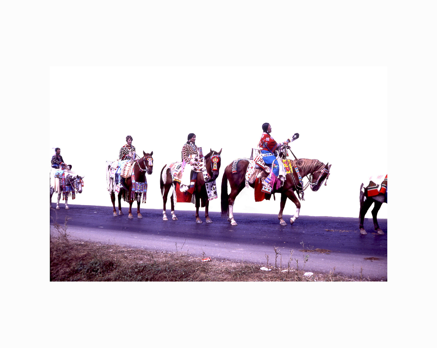Wendy Red Star,  Bay Horses & Women , 2014, slide of Crow Fair parade at Crow Agency in the 1970s, archival pigment print.