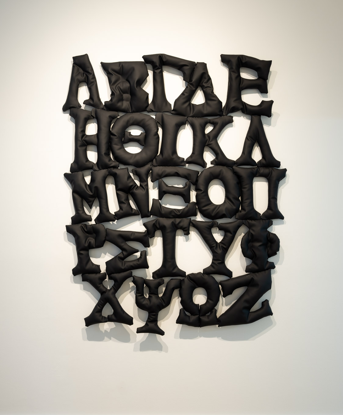 Al Freeman  Soft Greek Alphabet (black)  2018 Pleather and polyester filler 85 x 65 inches