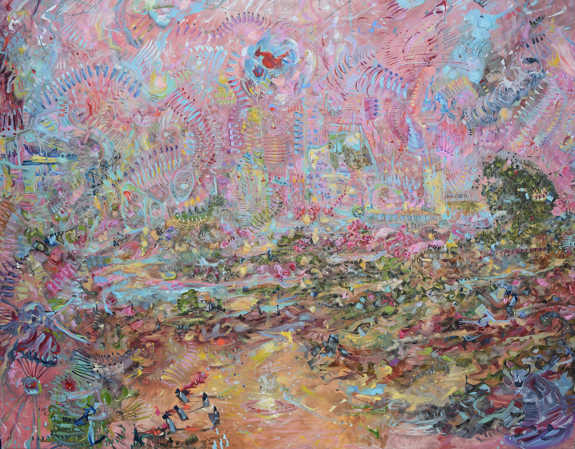 rOilTea - A Momentous Erosion of Improvised Rhythms   2012 Oil on linen 86 x 112 inches
