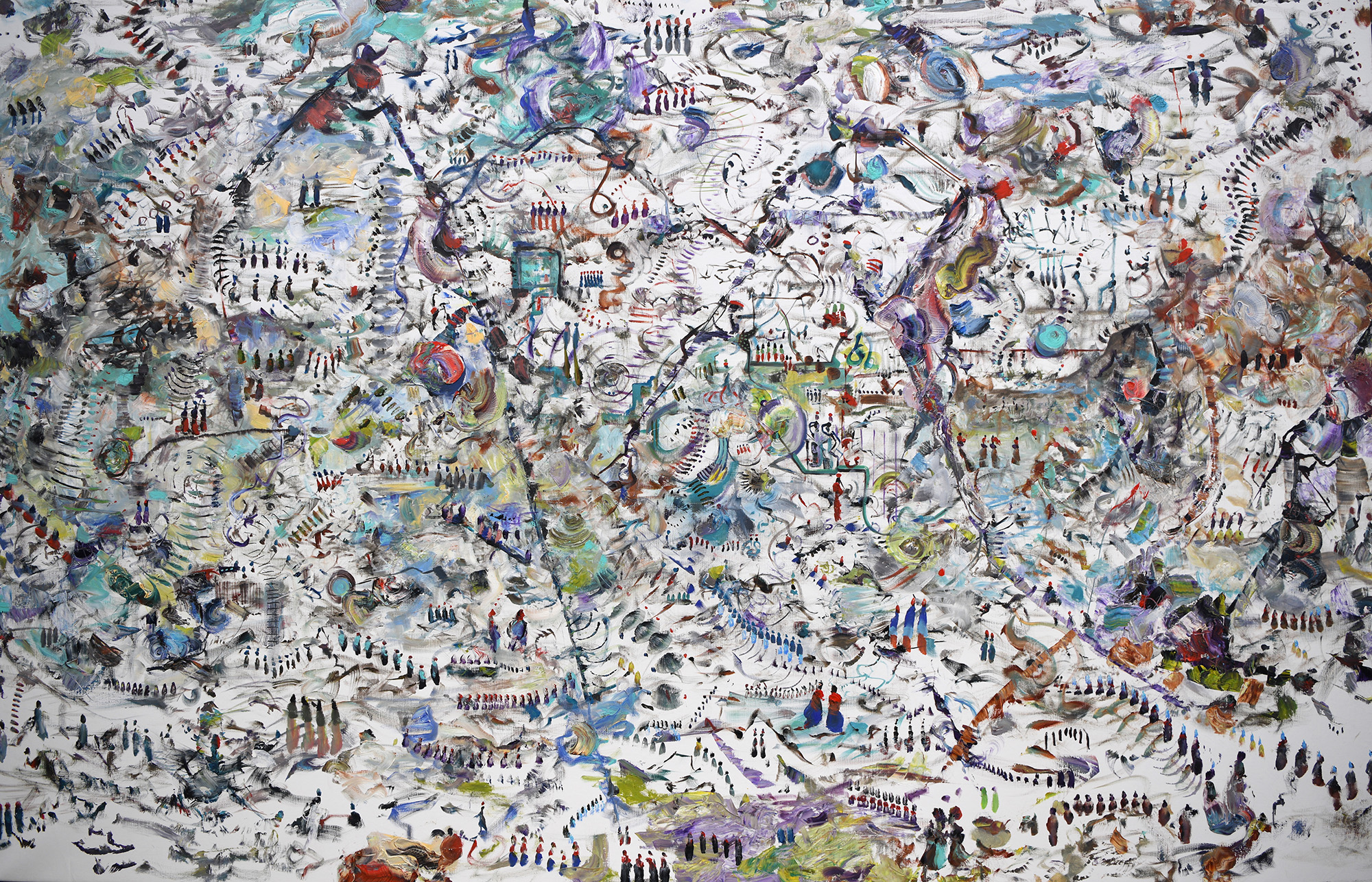 The Score Was Tide (one to one)  2015 Oil on linen 72 x 112 inches